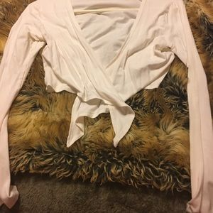 R Sweaters - White Shrug tie front long sleeve 6/8